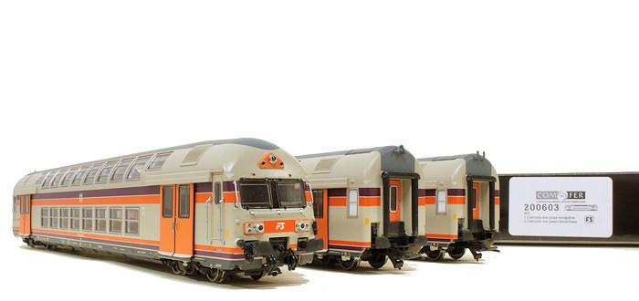 Treni set 3 vagoni a 2 piani 1 semipilota 2 rimorchiate for Piani a 2 piani